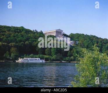 the WALHALLA near REGENSBURG downriver at Donaustauf river danube Hall of Fame - Stock Photo