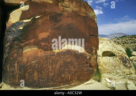 Petroglyphs at Rochester Panel Rock Art Site near Emery, San Rafael Swell area, Utah, USA - Stock Photo