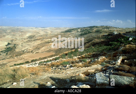JORDAN up on the MOUNT NEBO where Moses saw the Holy Land Memorial of Moses overview wide - Stock Photo
