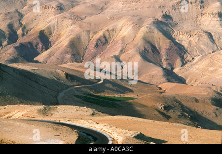 JORDAN up on the MOUNT NEBO where Moses saw the Holy Land Memorial of Moses overview the wide jordan land landscape - Stock Photo