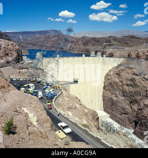 The Hoover Dam in Nevada USA ,  showing Lake Mead Reservoir behind the Dam. - Stock Photo