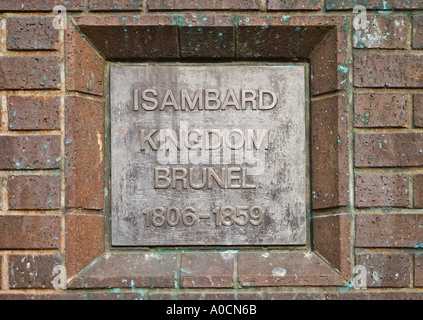 Name plaque on the statue of Isambard Kingdom Brunel 1806 1859 in Bristol - Stock Photo
