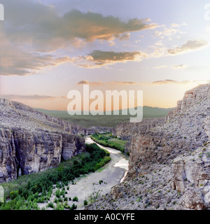 View of the Rio Grande near Boquillas Village in the Big Bend National Park Texas, US-Mexico border at sunset