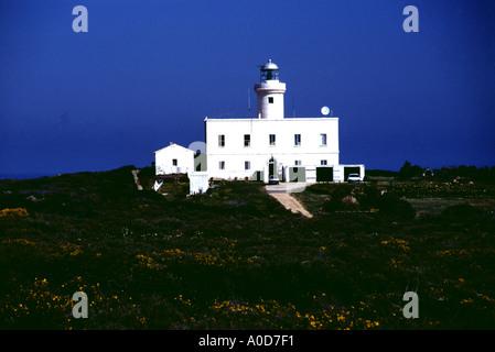 italy sardinia costa smeralda lighthouse at the capo ferro - Stock Photo