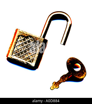 key and lock closed open safe secure - Stock Photo