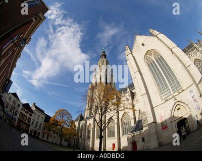 The beautifully restored church of our lady in the city center of Breda Noord Brabant the Netherlands fisheye - Stock Photo
