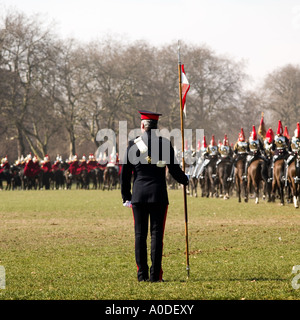 Household Cavalry training No model release required: back view, blur,  and uniform makes all unrecognizable - Stock Photo