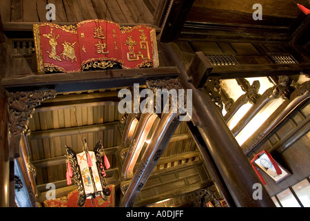 Vietnam Hoi An Old Town Tan Ky House 200 years old architecture in main room jackwood frame wooden ceiling detail - Stock Photo