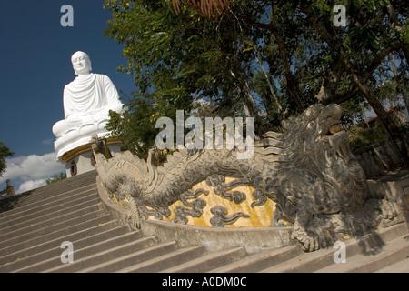 Vietnam Nha Trang Buddhism Tinh Hoi Kanh Hoa Pagoda 14 metre high Buddha statue the Kim Than Phat To sat on lotus - Stock Photo