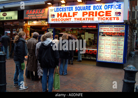 London Leicester Square box office for cinema and theatre tickets selling at discount prices Bagel shop - Stock Photo