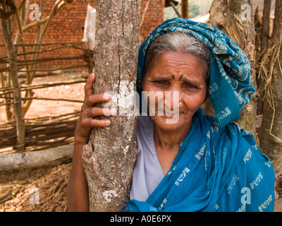 A grey haired village woman in tribal Orissa poses with an amused smile - Stock Photo