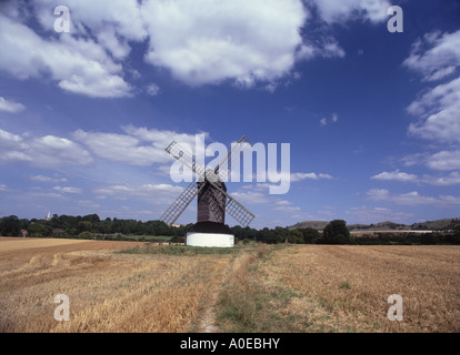 Pitstone Windmill is one of the earliest dating from 1627, below  Ivinghoe Beacon  in  the Chilterns - Stock Photo