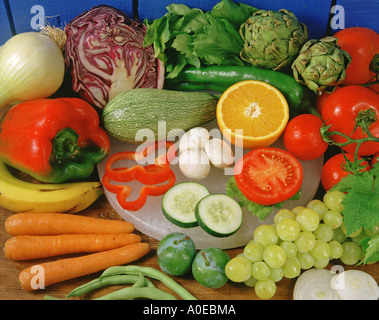 Assorted vegetables and fruits - Stock Photo