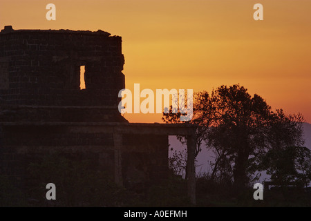 Israel Golan Heights remains of an old Syrian army camp from pre six day war 1967 - Stock Photo