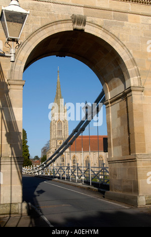 Marlow Suspension Bridge All Saints Church in Buckinghamshire UK - Stock Photo
