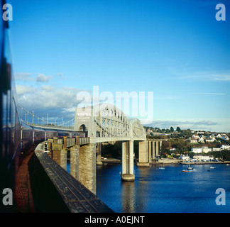 'Great Western' London-bound express train crossing Brunel's 'Royal Albert Bridge' over the River Tamar - Stock Photo