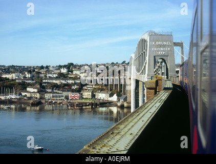 Great Western 'Paddington to Penzance' express crossing the Royal Albert Bridge over the River Tamar at Saltash - Stock Photo