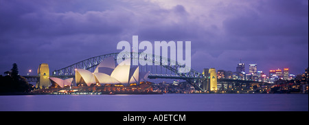 Opera House Harbour Bridge Sydney New South Wales Australia - Stock Photo