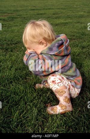 little girl having temper tantrum - Stock Photo
