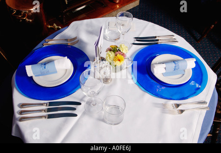 Place setting in the fine dining restaurant at The Talbot at Knightwick Worcestershire England - Stock Photo