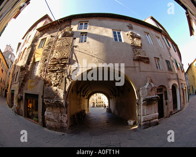 The famous Piazza del Mercato in Lucca Tuscany Italy seen from the outside fisheye - Stock Photo