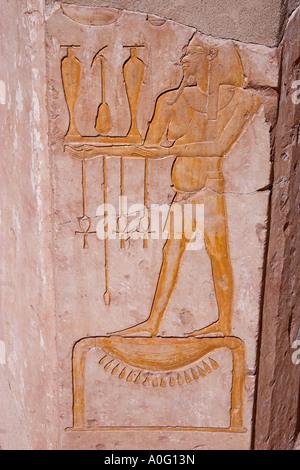 Relief Deir El Bahri Egypt - Stock Photo