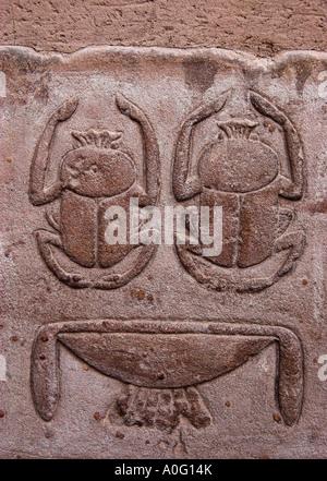 Scarab relief Edfu Deir El Bahri Egypt - Stock Photo
