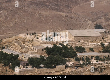 Church built on the site said to be burial place of bibllical Moses on Mount Nebo in Jordan near the town of Madaba - Stock Photo