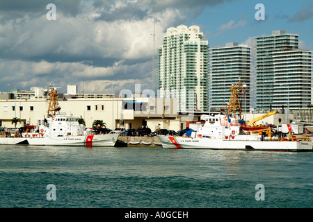 US Coast Guard patrol boats The Sitkinak 1329 and the Farallon 1301 in the Port of Miami USA - Stock Photo