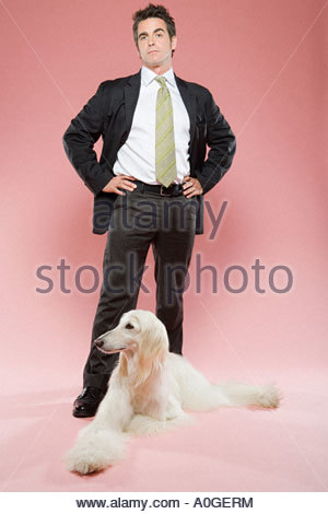 Man and an afghan hound - Stock Photo
