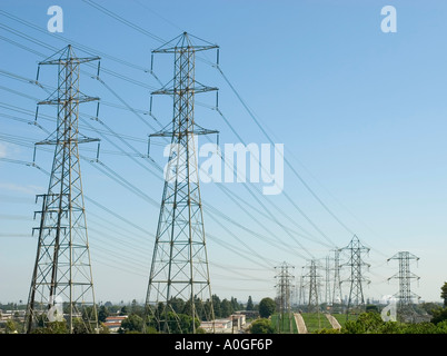 All along the power towers - Stock Photo