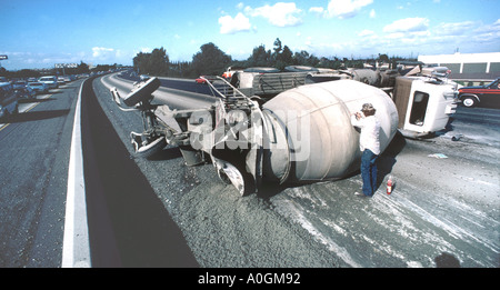 Truck Accident on interstate freeway system in Los Angeles California - Stock Photo