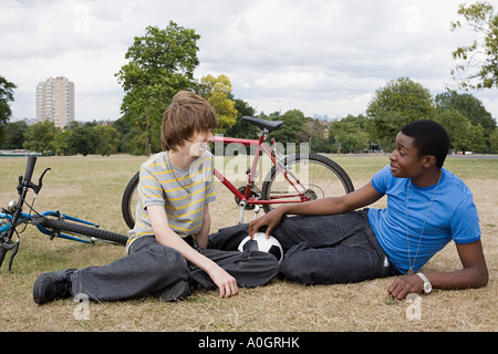 Teenage boys in the park - Stock Photo