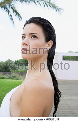 Young woman with wet hair - Stock Photo