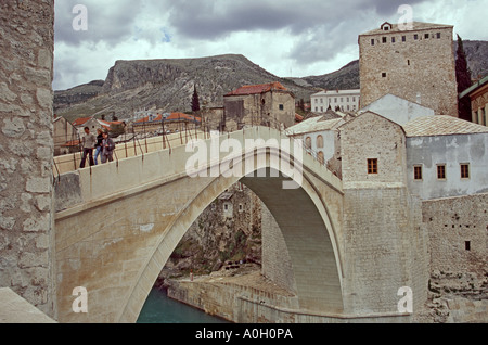 Old Bridge (Stari Most) in Mostar, Bosnia Herzegovina - Stock Photo