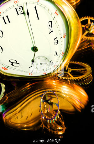 Distorted Clock and Gears Mechanical Parts on Black Background - Stock Photo