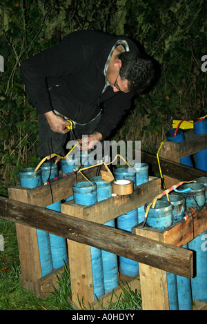 Setting up the fireworks display - Stock Photo