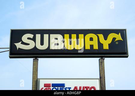 Subway Fast Food Restaurant sign - Stock Photo