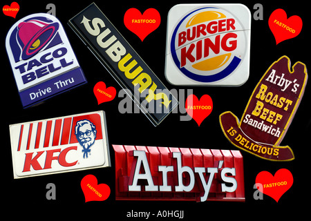 A Collage of Fast Food Restaurant signs - Stock Photo