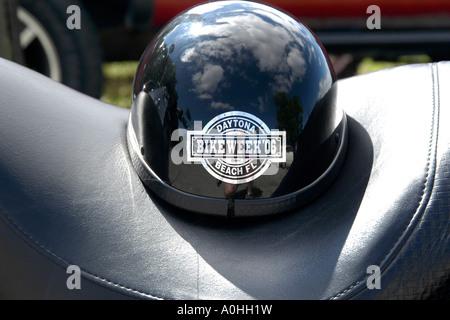 Close up of a Black Motorcycle Crash helmet - Stock Photo