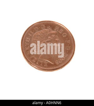 A one penny piece from 2005 - Stock Photo