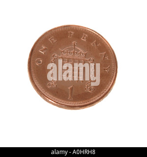 A English one penny piece - Stock Photo