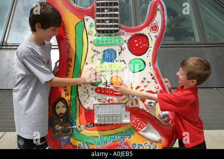 Cleveland Ohio Rock and Roll Hall of Fame GuitarMania boys brothers - Stock Photo