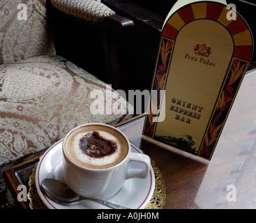 Espresso Coffee in the Orient Express Bar Pera Palas Hotel Istanbul Turkey - Stock Photo