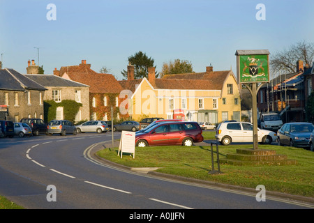 the village sign at Cavendish, Suffolk, UK - Stock Photo