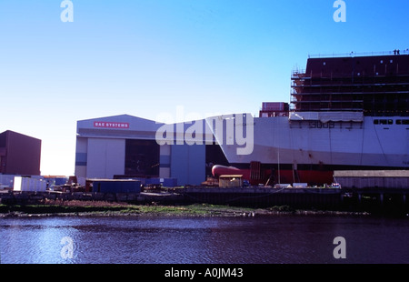 Bow of RFA ship Cardigan Bay under construction at BAE Systems shipyard Govan on the Clyde Glasgow Scotland - Stock Photo