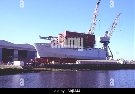 Bow of RFA supply ship Cardigan Bay under construction at BAE Systems shipyard Govan on the Clyde Glasgow Scotland - Stock Photo
