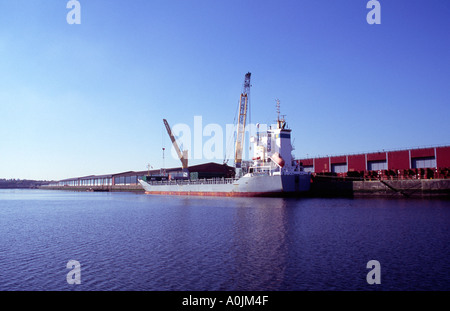 a bulk carrier unloads animal feed in the once busy King George 5th Dock Clyde Glasgow Scotland - Stock Photo