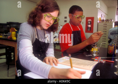 Detroit Michigan Students in an eighth grade science class at Friends School in Detroit - Stock Photo