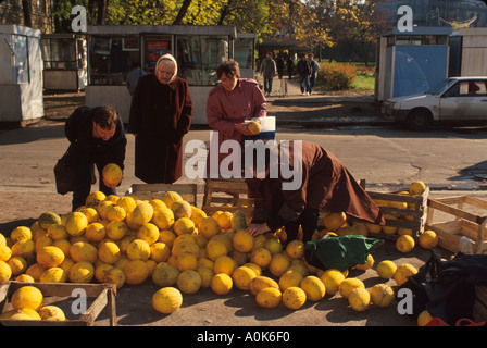 Russia former Soviet Union St. Petersburg produce vendor - Stock Photo